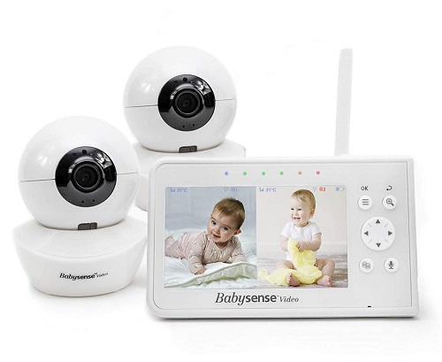 """Babysense 4.3"""" Dual Baby Monitor For Two Rooms"""