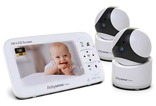 """★ BEST CHOICE ★ Babysense Baby Monitor 720P 5"""" HD Display   Pair Up To 4 Cameras For Maximum Security   Cameras with Remote PTZ 960ft Range   Two-Way Audio and Night Vision   Secure Hack-Free and Portable"""