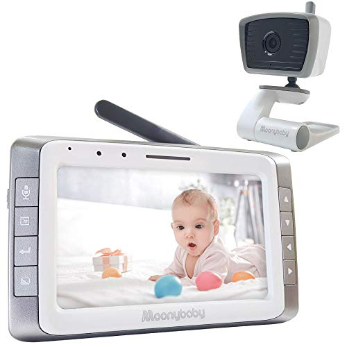 """Moonybaby Trust 50-2 Video Baby Monitor with 2 Cameras 5"""" Display   Non Wi-Fi   Long Battery Life   TalkBack, Auto Scan, Lullabies, Power Saving"""