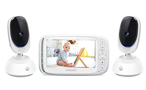 """★ BEST FUNCTIONALITY ★ Motorola Comfort75-2 Video Baby Monitor 5"""" LCD Display with Two-Way Intercom   Night Vision - 1000ft Range   Room Temperature Monitoring"""