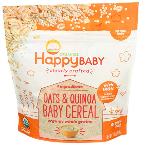 ★ Best Baby Cereal Organic ★ Happy Baby Organic Clearly Crafted Cereal Whole Grain Oats | Milled Organic Quinoa | Vitamin C (Ascorbic Acid) | Ferrous Bisglycinate