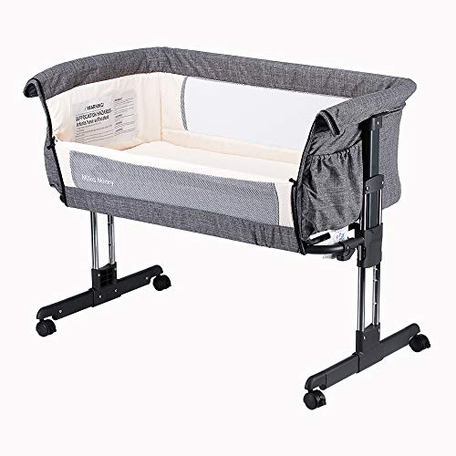 ★ Best Portable ★ Mika Micky Bedside Sleeper Easy Folding Portable Crib | 7 height positions | Easy-open side panel | Suitable from Birth to 5-months/33lbs