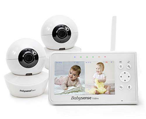 """Baby Monitor Babysense 4.3"""" Split Screen   Remote PTZ 960ft Range (Open Space)   Adjustable Night Light and Two-Way Audio, Zoom   Night Vision and Lullabies"""