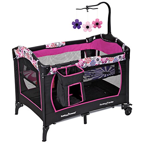 ★ BEST PRICE ★ Baby Trend Nursery Center - Removable full-size bassinet | Handy Diaper stacker and mobile | One-hand locking mechanism | Easy compact fold