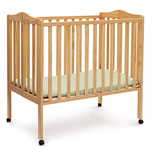 ★ BEST CHOICE ★ Delta Children | Folding Portable mini baby crib with 1.5-inch mattress | Natural | Safety standards CPSC & ASTM | The 2 position mattress height adjustment