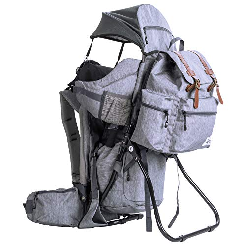 ClevrPlus Urban Explorer Child Carrier Hiking | Fold-flat metal frame | Extra-large bottom pocket for diapers | Hydration pack compartment | Breathable Thick padded shoulder pads and bolsters