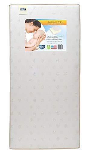 Delta Children Twinkle Stars Fiber Core Crib and Toddler Mattress | Waterproof | Lightweight | GREENGUARD Gold Certified | Natural | Non-Toxic