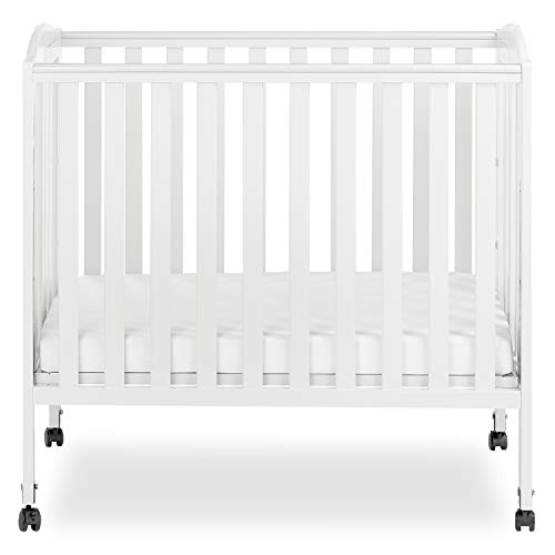 Dream On Me 3 in 1 | 3 level portable crib available | Solid Birchwood frame | Stationary (non-drop side) rail system | Dual hooded safety wheels