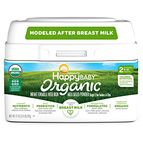 ★ Top-3 Best Organic Formula For Baby ★ Happy Baby Organic | Milk-Based Powder with Iron Stage 2 | Non-GMO & Gluten-Free | No Corn Syrup Solids | Milk from Cows Raised on Organic Farms