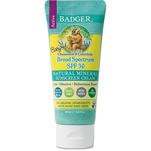 ★ Best organic baby sunscreen ★ Badger - SPF 30 Baby Sunscreen Cream with Zinc Oxide - Broad Spectrum & Water Resistant | Reef Safe Sunscreen | Natural Mineral Sunscreen with Organic Ingredients