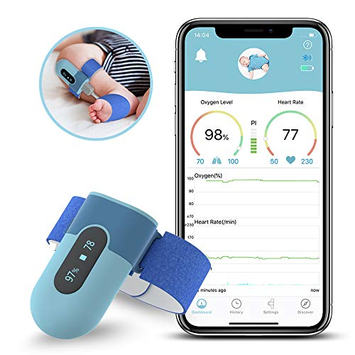 Wellue BabyO2 — Baby Oxygen Monitor Foot with Alarm in APP | Track O2 Level & Heart Rate | Wearable Blood Oxygen Saturation Monitor Bluetooth