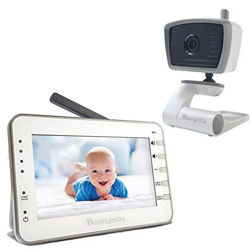 BEST LONG RANGE/NON WIFI — MoonyBaby Trust 30 Baby Monitor, 1 Camera and 4.3 Inches Large Screen, Power Saving/Voice Activation, Auto Night Vision, 2-Way Talk-Back and Long Battery Life