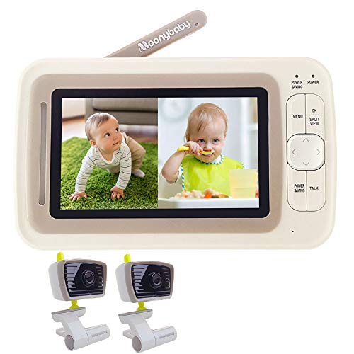 BEST SPLIT SCREEN — Moonybaby Split Screen Baby Monitor with 2 Cameras, Extended 12hrs Battery Life, Wide View, Large Screen, Long Range, Night Vision, Temperature Monitoring, 2 Way Talk Back, Power Saving