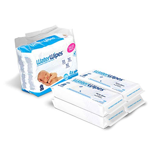 Best baby wipes for newborn - WaterWipes Unscented Baby Wipes, Sensitive and Newborn Skin, 4 Packs (240 Wipes), Multicolor
