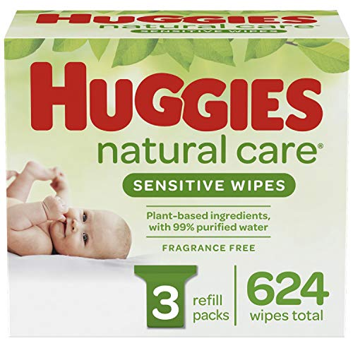 Best baby wipes natural - Huggies Natural Care Sensitive Baby Wipes, Unscented, 3 Refill Packs (624 Wipes Total)