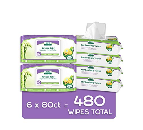 Best baby wipes organic - Aleva Naturals Bamboo Baby Wipes | Perfect for Sensitive Skin | Extra Strong and Ultra Soft | Natural and Organic Ingredients | Certified Vegan | 6 packs of 80ct – Total of 480ct (37944)