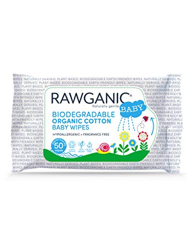 ★ Best Natural Baby Wipes Organic Cotton ★ RAWGANIC - Gentle Biodegradable Baby Wipes, with Aloe Vera | Hypoallergenic Fragrance-Free Moist Wipes for Nappy Change
