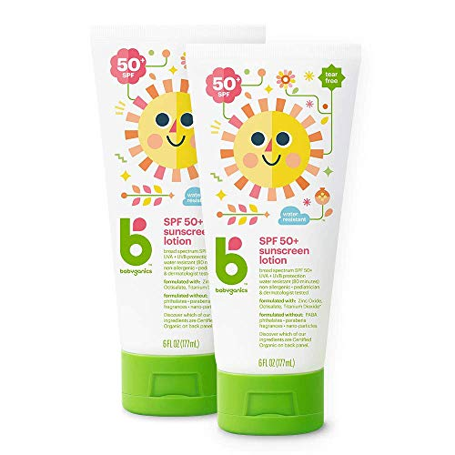 ★ Best Sunscreens for Babies ★ Babyganics Sunscreen Lotion SPF 50 - UVA + UVB protection | REEF SAFE: made without oxybenzone and octinoxate | Formulated without: PABA, phthalates, parabens, fragrances or nano particles | Water-resistant (80 minutes)