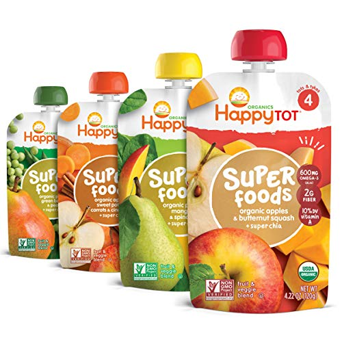 ★ Top-3 Best Organic Baby Food ★ Happy Tot| Wholesome chia seeds offer omega-3s, fiber, and vitamin C.