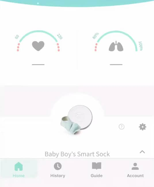 4 Owlet App:  It has the heart rate monitor on the left and it has the averages and the O2 sensor on the right.