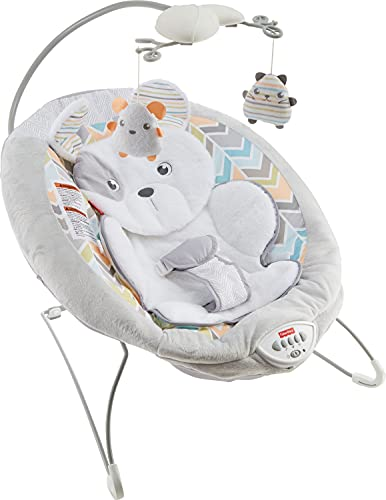 Fisher-Price Sweet Snugapuppy Deluxe Bouncer, Portable Bouncing Baby Seat with Overhead Mobile, Music and Calming Vibrations